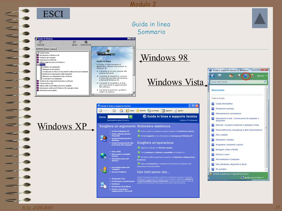 Modulo 2 ESCI ECDL 2009-2010 10 Guida in linea Sommario Windows 98 Windows Vista Windows XP