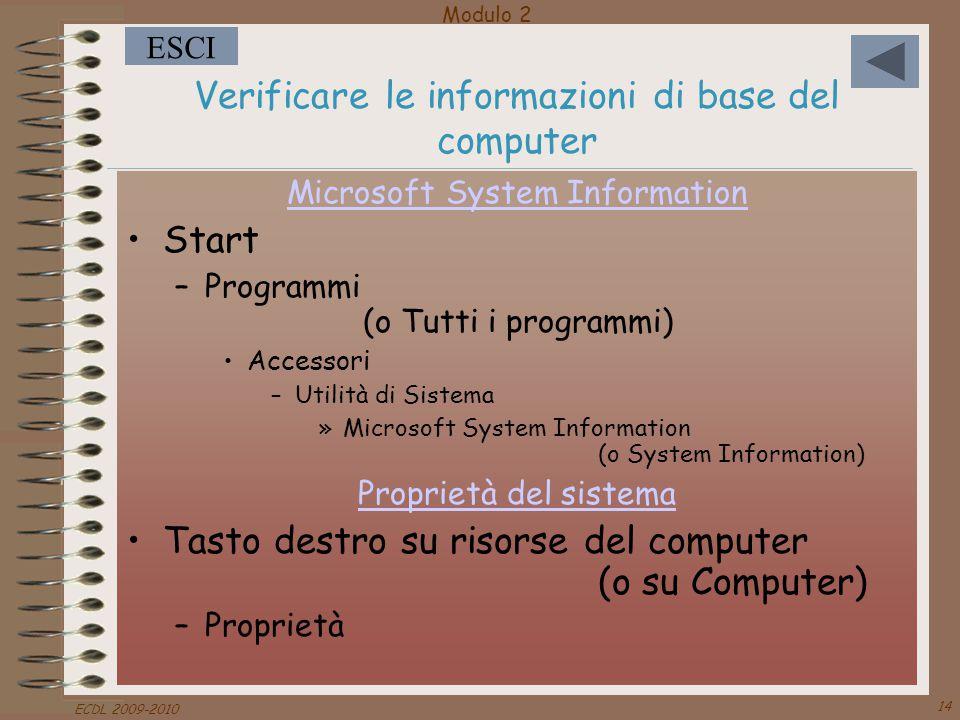 Modulo 2 ESCI ECDL 2009-2010 14 Verificare le informazioni di base del computer Microsoft System Information Start –Programmi (o Tutti i programmi) Ac