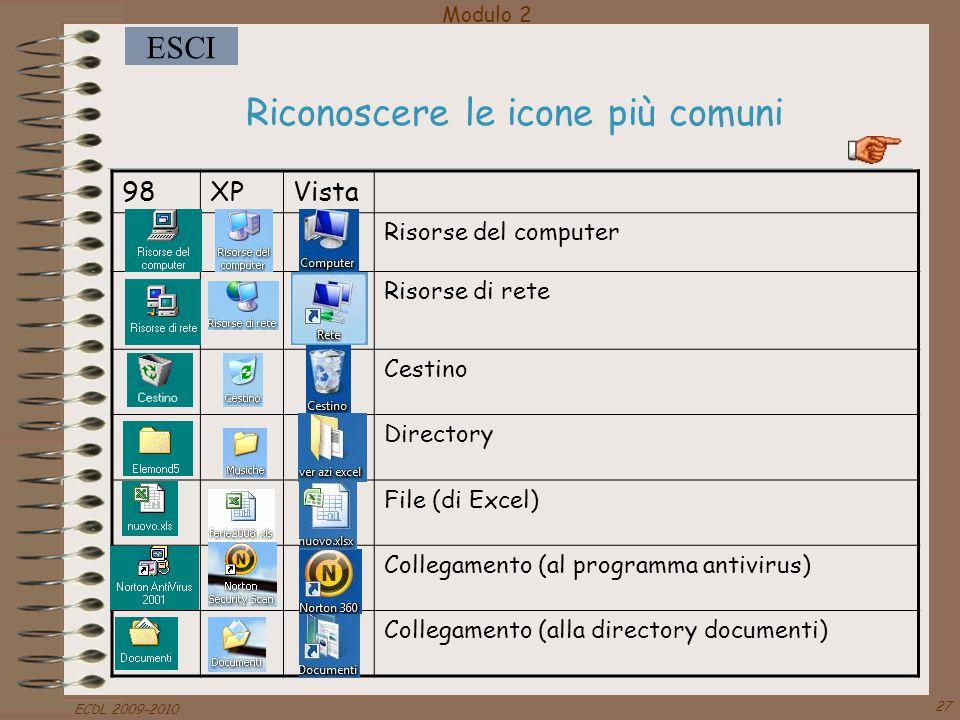 Modulo 2 ESCI ECDL 2009-2010 27 Riconoscere le icone più comuni 98XPVista Risorse del computer Risorse di rete Cestino Directory File (di Excel) Colle