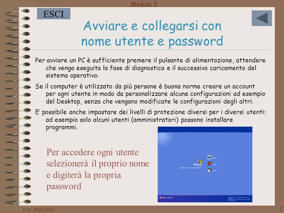 Modulo 2 ESCI ECDL 2009-2010 3 Avviare e collegarsi con nome utente e password Per avviare un PC è sufficiente premere il pulsante di alimentazione, a
