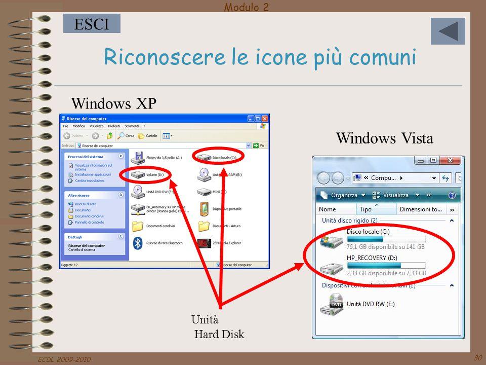 Modulo 2 ESCI ECDL 2009-2010 30 Riconoscere le icone più comuni Windows XP Unità Hard Disk Windows Vista