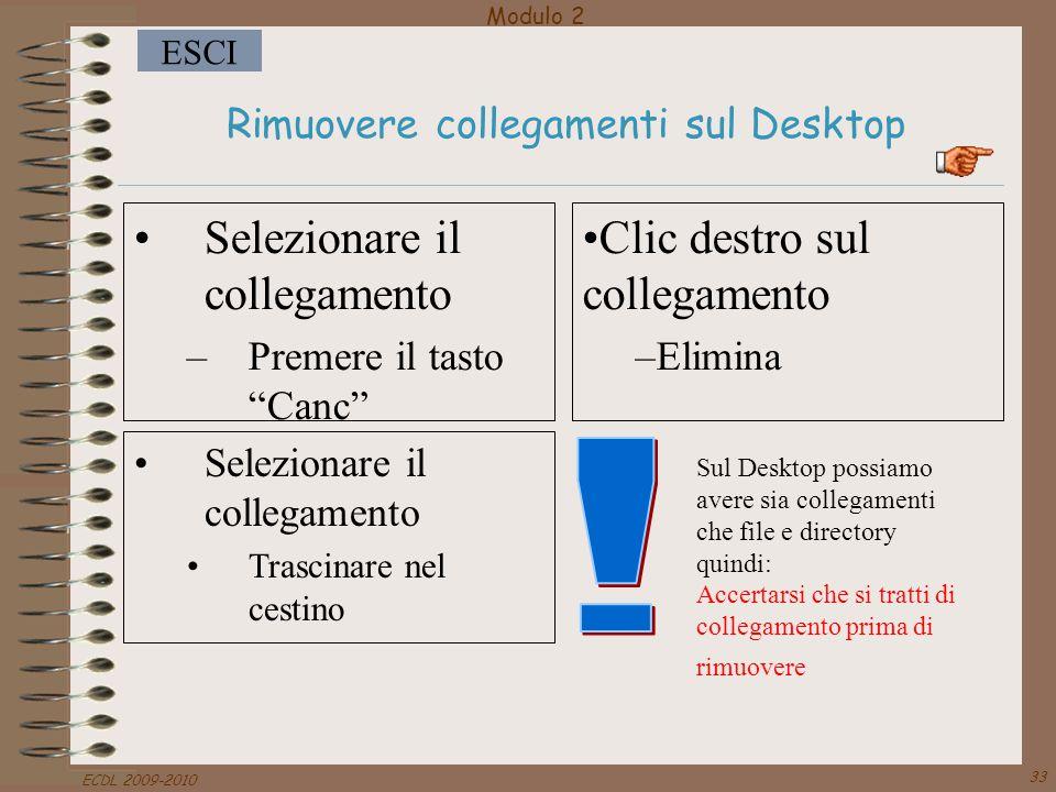 """Modulo 2 ESCI ECDL 2009-2010 33 Rimuovere collegamenti sul Desktop Selezionare il collegamento –Premere il tasto """"Canc"""" Clic destro sul collegamento –"""