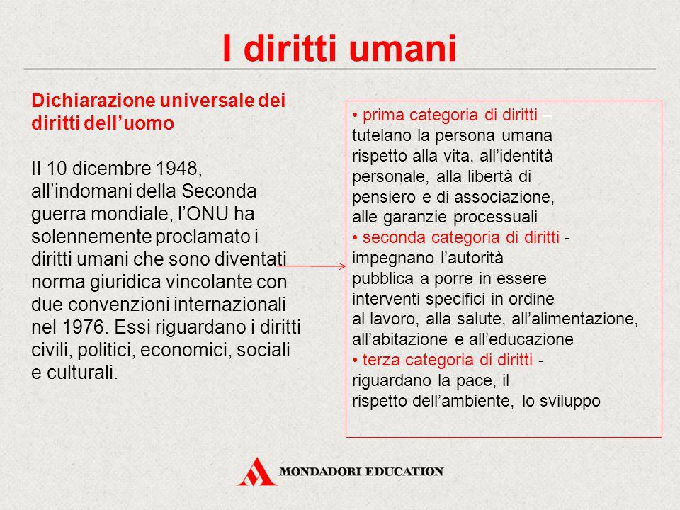 Dichiarazione universale dei diritti dell'uomo Il 10 dicembre 1948, all'indomani della Seconda guerra mondiale, l'ONU ha solennemente proclamato i dir
