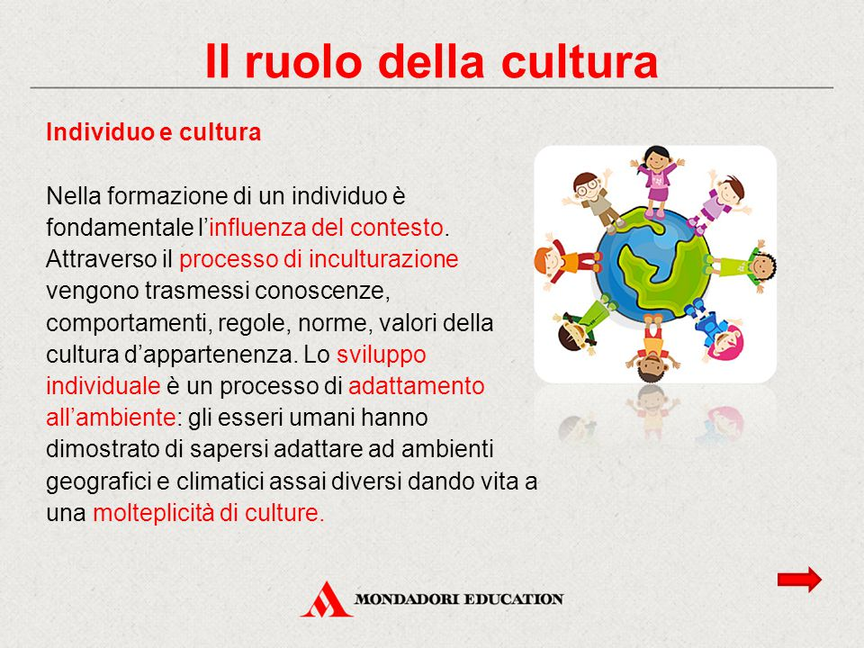 Il ruolo della cultura Individuo e cultura Nella formazione di un individuo è fondamentale l'influenza del contesto. Attraverso il processo di incultu