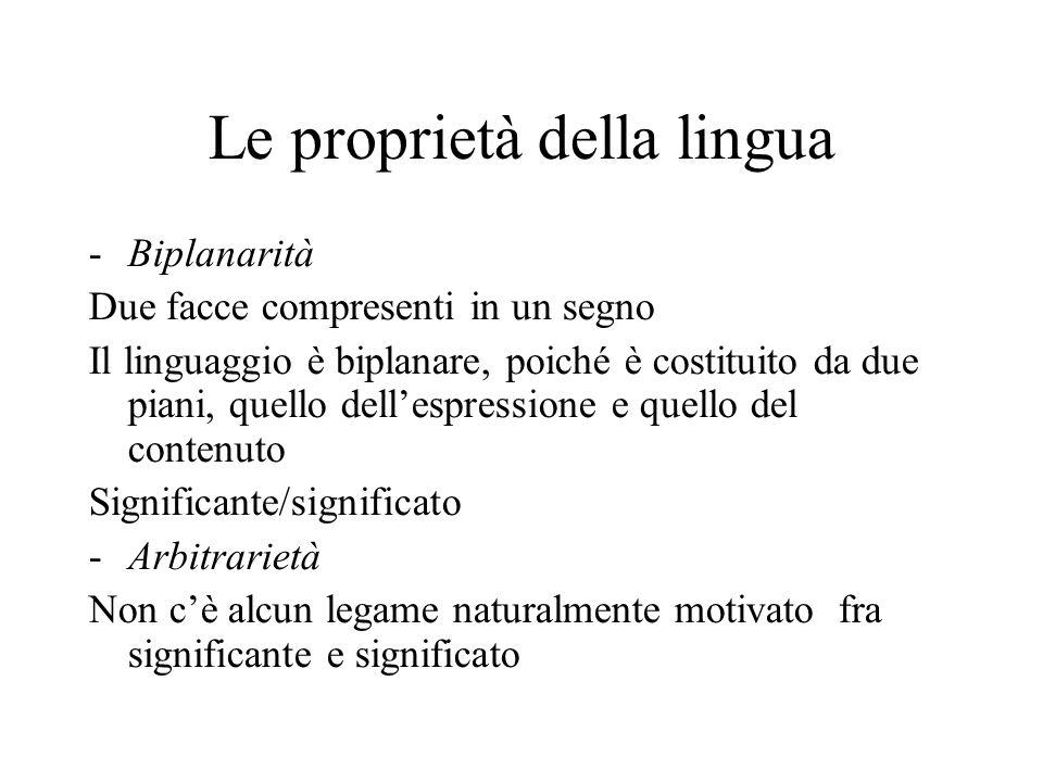 Le proprietà della lingua -Biplanarità Due facce compresenti in un segno Il linguaggio è biplanare, poiché è costituito da due piani, quello dell'espr
