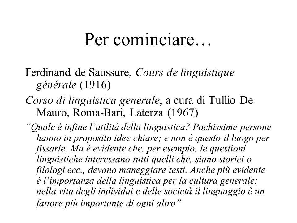 Per cominciare… Ferdinand de Saussure, Cours de linguistique générale (1916) Corso di linguistica generale, a cura di Tullio De Mauro, Roma-Bari, Late