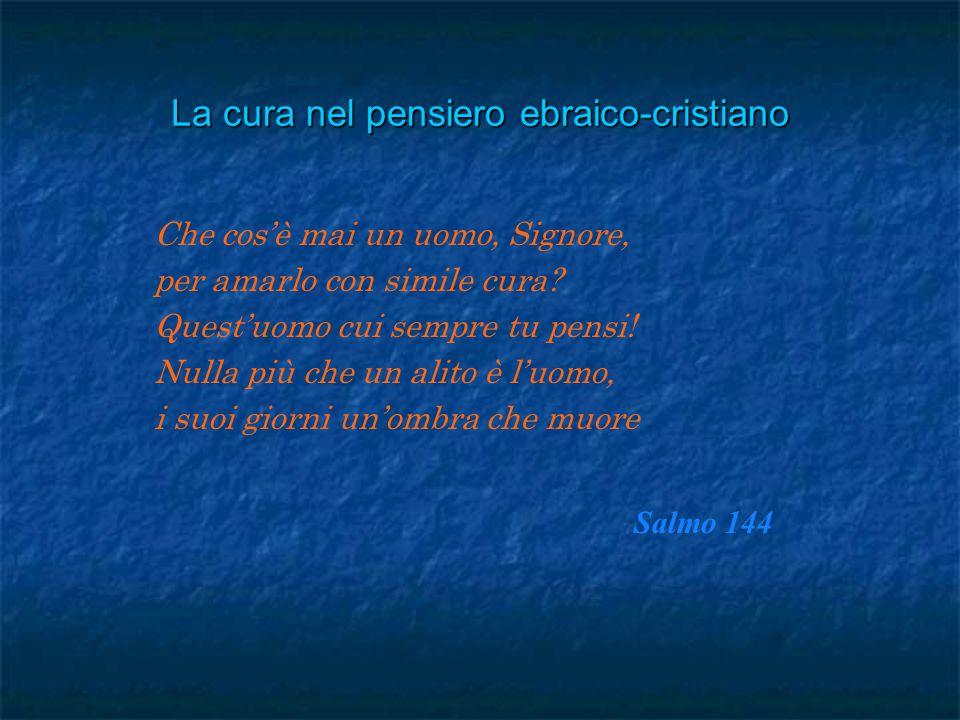 La cura nel pensiero ebraico-cristiano Che cos'è mai un uomo, Signore, per amarlo con simile cura.