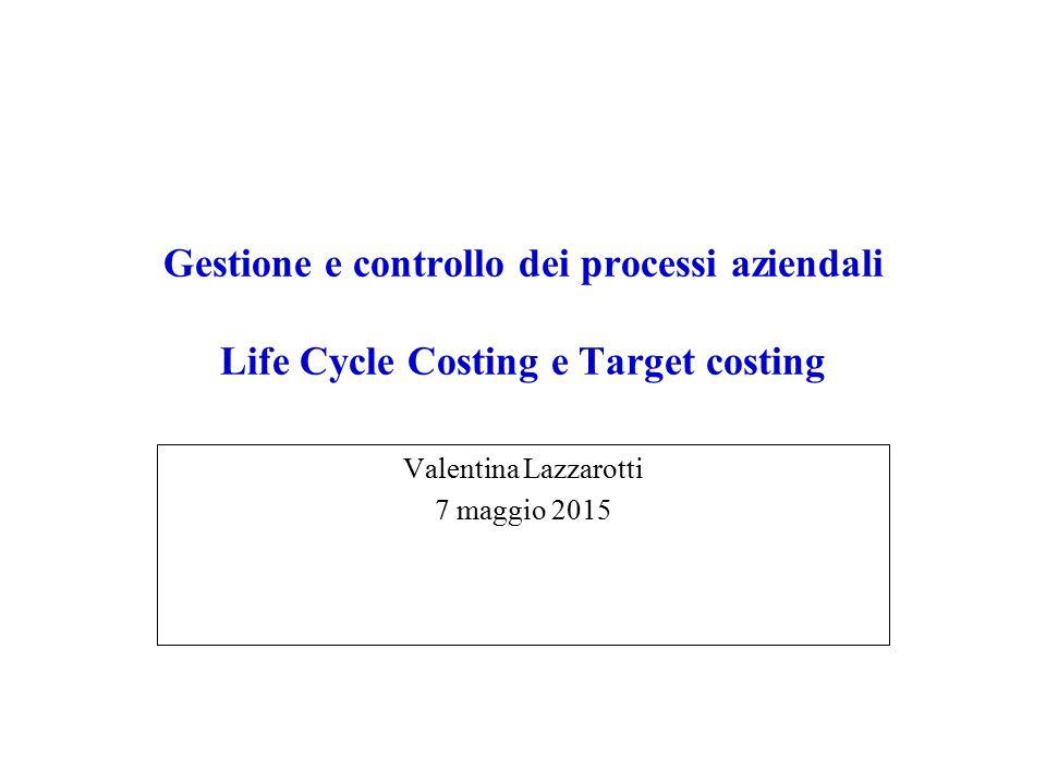 Relazioni fra i concetti del ciclo di vita, TLCC e i moderni metodi di contabilità il calcolo dei costi lungo il ciclo di vita complessivo calcola e tenta di ottimizzare i costi generati nei tre cicli  supportato dall' activity-based costing (ABC)  il target costing è un metodo che si concentra sulla riduzione dei costi afferenti il ciclo di ricerca, sviluppo e progettazione  il kaizen costing è un metodo che si concentra sulla riduzione dei costi durante il ciclo produttivo