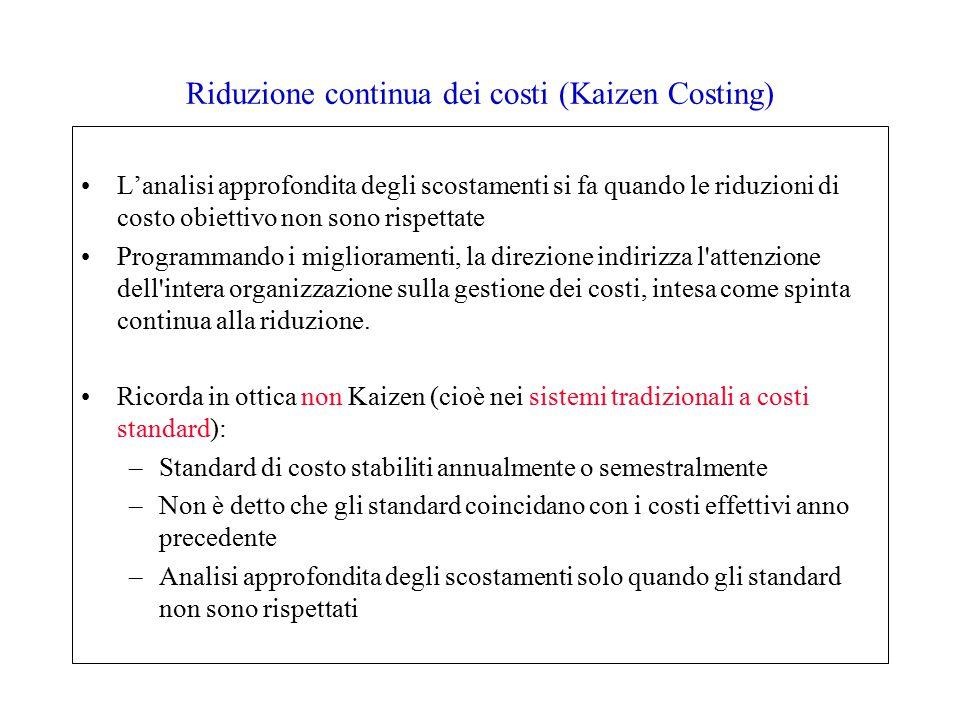 Riduzione continua dei costi (Kaizen Costing) L'analisi approfondita degli scostamenti si fa quando le riduzioni di costo obiettivo non sono rispettate Programmando i miglioramenti, la direzione indirizza l attenzione dell intera organizzazione sulla gestione dei costi, intesa come spinta continua alla riduzione.