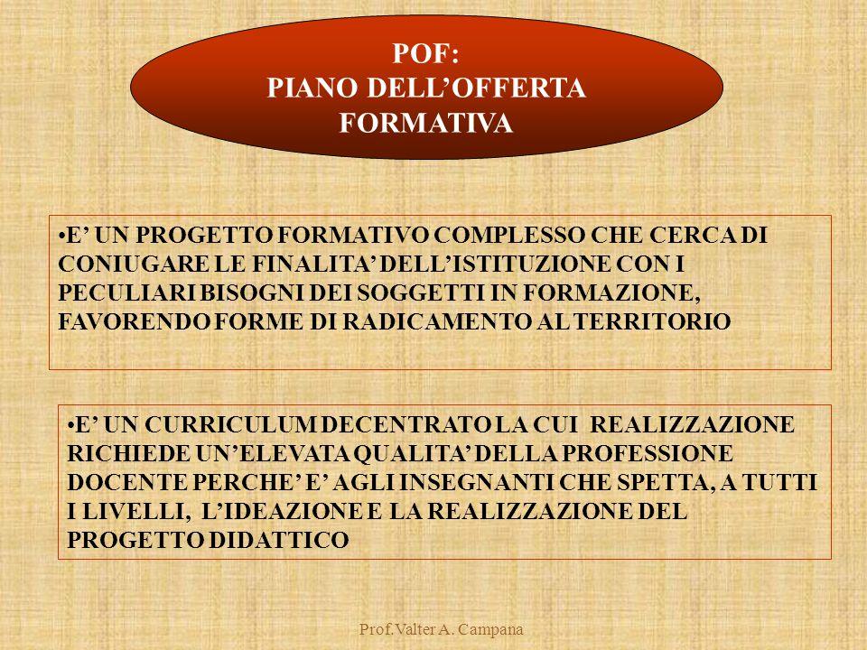 Prof.Valter A. Campana POF: PIANO DELL'OFFERTA FORMATIVA E' UN PROGETTO FORMATIVO COMPLESSO CHE CERCA DI CONIUGARE LE FINALITA' DELL'ISTITUZIONE CON I