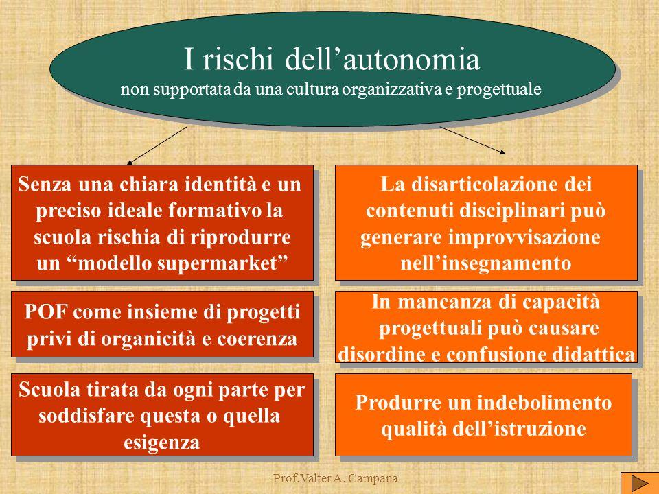 Prof.Valter A. Campana I rischi dell'autonomia non supportata da una cultura organizzativa e progettuale I rischi dell'autonomia non supportata da una