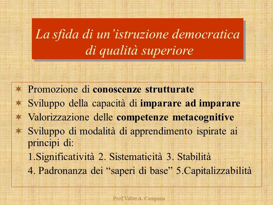 Prof.Valter A. Campana La sfida di un'istruzione democratica di qualità superiore La sfida di un'istruzione democratica di qualità superiore  Promozi