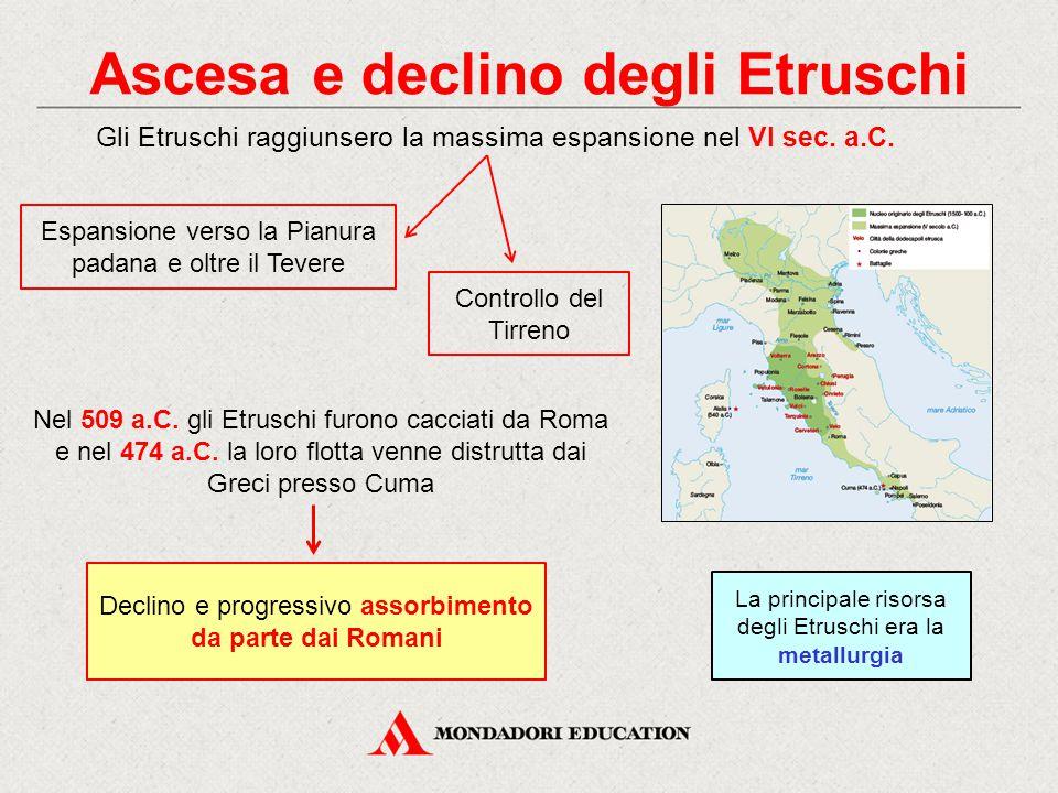 Ascesa e declino degli Etruschi Gli Etruschi raggiunsero la massima espansione nel VI sec.