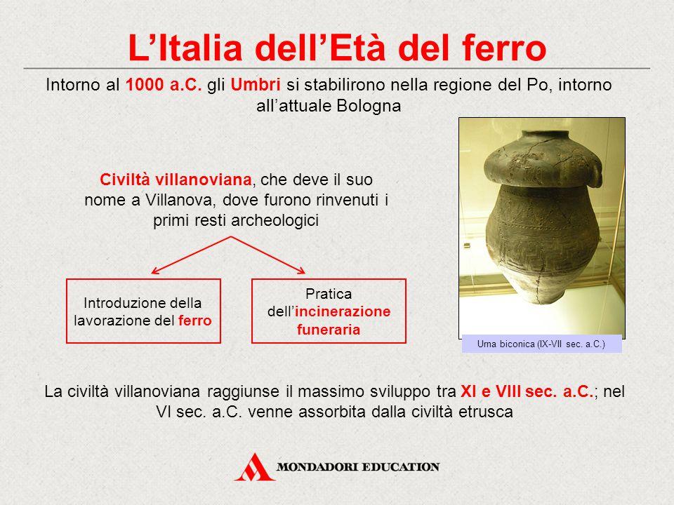 L'Italia dell'Età del ferro Intorno al 1000 a.C.