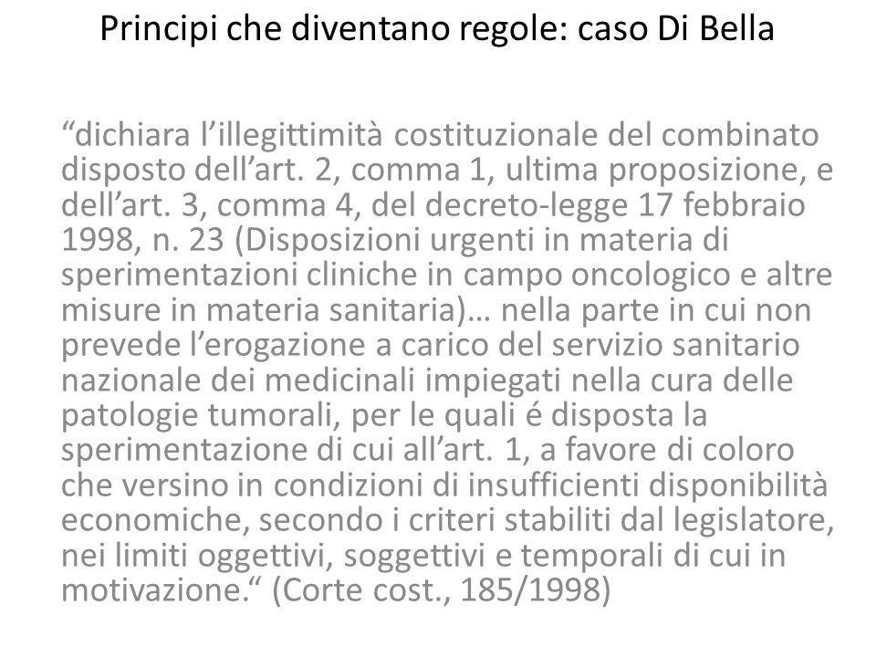 """Principi che diventano regole: caso Di Bella """"dichiara l'illegittimità costituzionale del combinato disposto dell'art. 2, comma 1, ultima proposizione"""