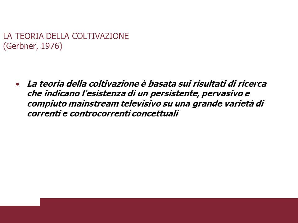 LA TEORIA DELLA COLTIVAZIONE (Gerbner, 1976) Il Cultural Indicator Program si articola in tre strategie: Analisi dei processi istituzionali Analisi del sistema dei messaggi Analisi della coltivazione
