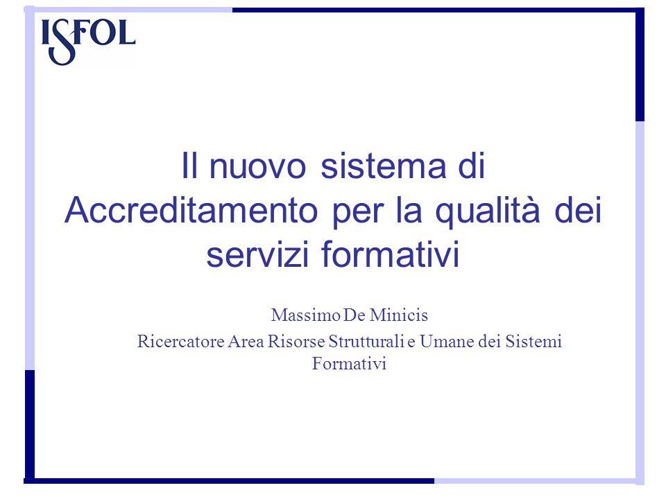 Il nuovo sistema di Accreditamento per la qualità dei servizi formativi Massimo De Minicis Ricercatore Area Risorse Strutturali e Umane dei Sistemi Formativi