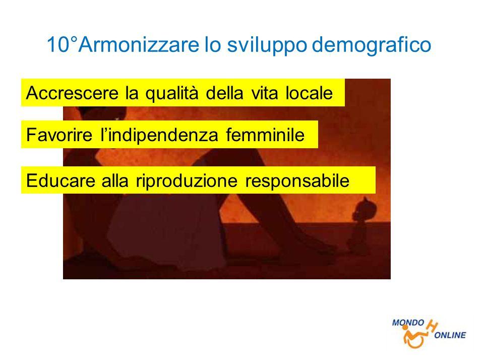 10°Armonizzare lo sviluppo demografico Accrescere la qualità della vita locale Favorire l'indipendenza femminile Educare alla riproduzione responsabile