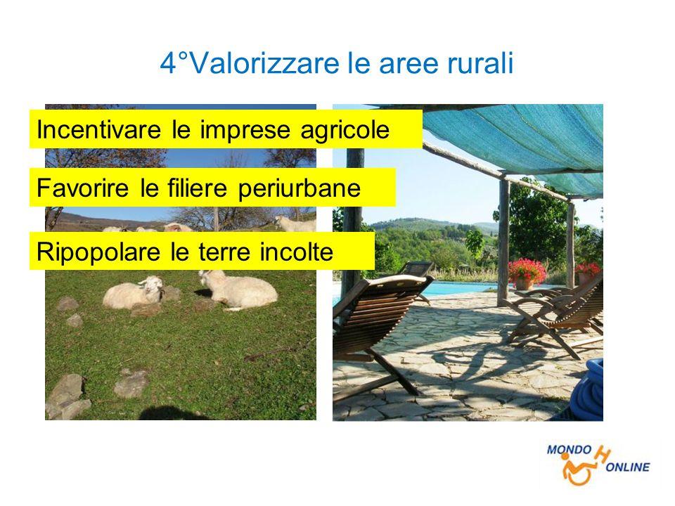 4°Valorizzare le aree rurali Incentivare le imprese agricole Favorire le filiere periurbane Ripopolare le terre incolte