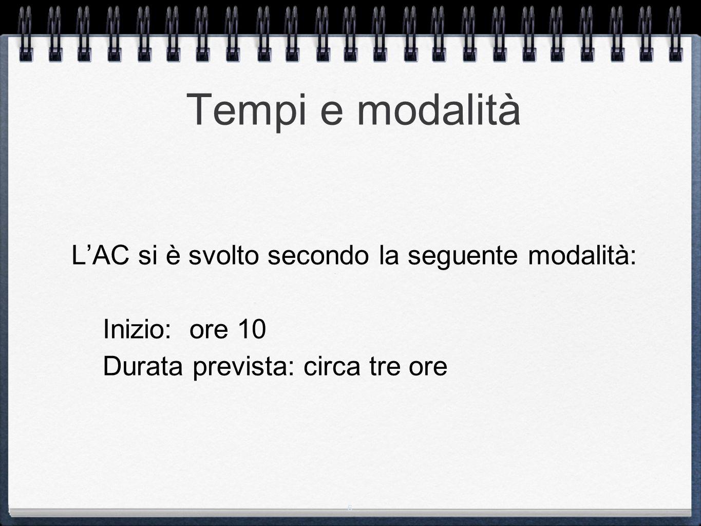 6 Tempi e modalità L'AC si è svolto secondo la seguente modalità: Inizio: ore 10 Durata prevista: circa tre ore