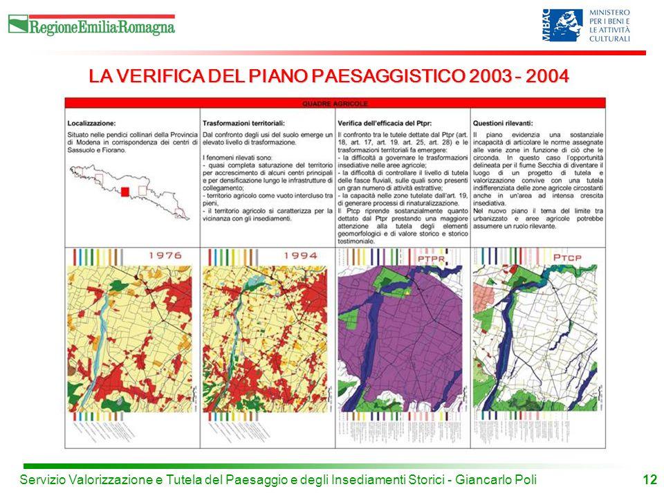 12Servizio Valorizzazione e Tutela del Paesaggio e degli Insediamenti Storici - Giancarlo Poli LA VERIFICA DEL PIANO PAESAGGISTICO 2003 - 2004