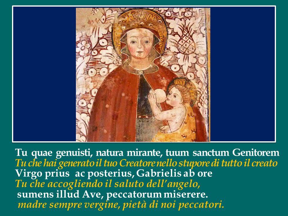 Alma Redemptoris Mater, quae pervia coeli porta manes, O santa Madre del Redentore, porta dei cieli, et stella maris, succurre cadenti, surgere qui curat, populo.
