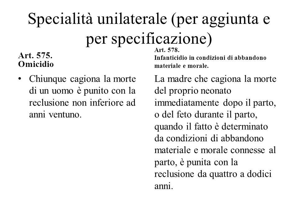 Specialità unilaterale (per aggiunta e per specificazione) Art. 575. Omicidio Chiunque cagiona la morte di un uomo è punito con la reclusione non infe