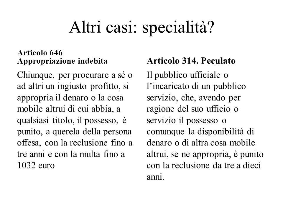 Altri casi: specialità? Articolo 646 Appropriazione indebita Chiunque, per procurare a sé o ad altri un ingiusto profitto, si appropria il denaro o la
