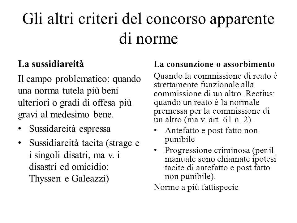 Gli altri criteri del concorso apparente di norme La sussidiareità Il campo problematico: quando una norma tutela più beni ulteriori o gradi di offesa