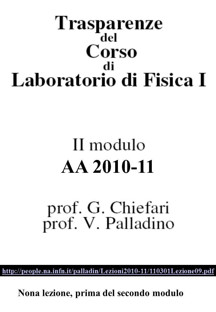 Nona lezione, prima del secondo modulo http://people.na.infn.it/palladin/Lezioni2010-11/110301Lezione09.pdf AA 2010-11