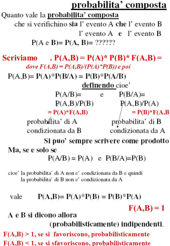 Scriviamo. P(A,B) = P(A)* P(B)* F(A,B) = dove F(A,B) = P(A,B)/(P(A)*P(B)) e poi = P(A)*F(A,B) F(A,B) = 1 F(A,B) > 1, se si favoriscono, probabilistica