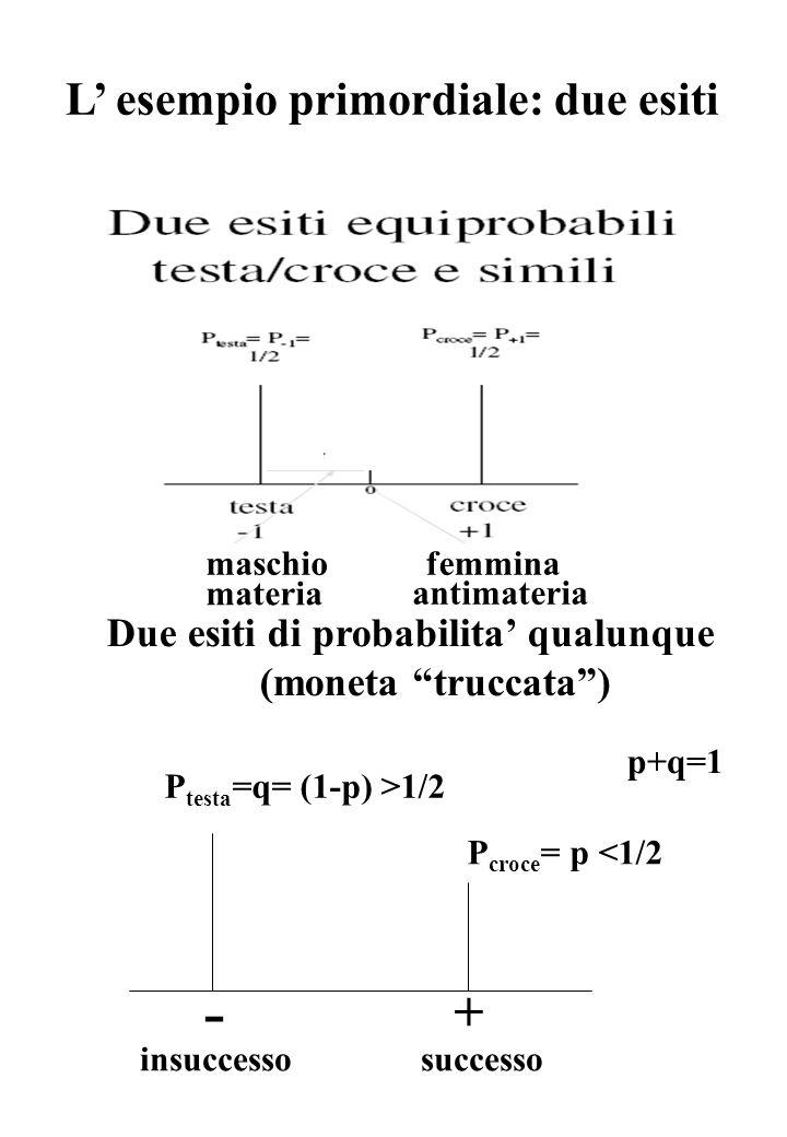 Due esiti di probabilita' qualunque (moneta truccata ) - + P testa =q= (1-p) >1/2 P croce = p <1/2 p+q=1 L' esempio primordiale: due esiti maschiofemmina materia antimateria successoinsuccesso