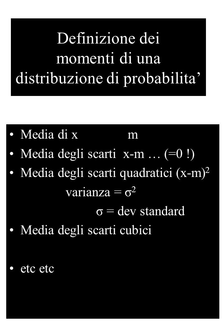 Definizione dei momenti di una distribuzione di probabilita' Media di x m Media degli scarti x-m … (=0 !) Media degli scarti quadratici (x-m) 2 varianza = σ 2 σ = dev standard Media degli scarti cubici etc