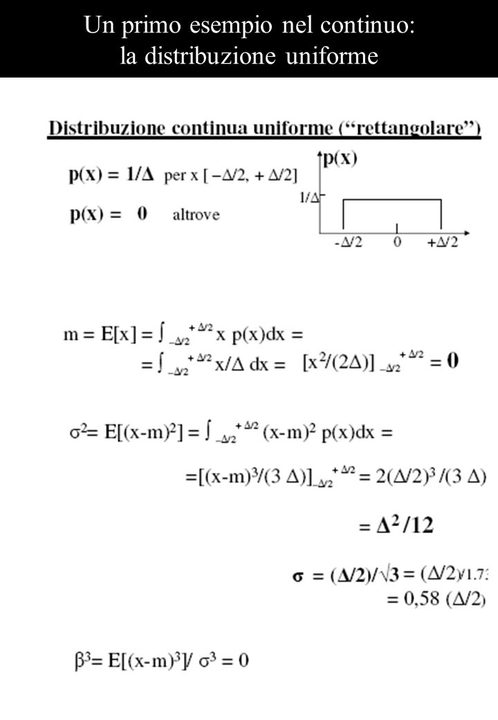 Un primo esempio nel continuo: la distribuzione uniforme