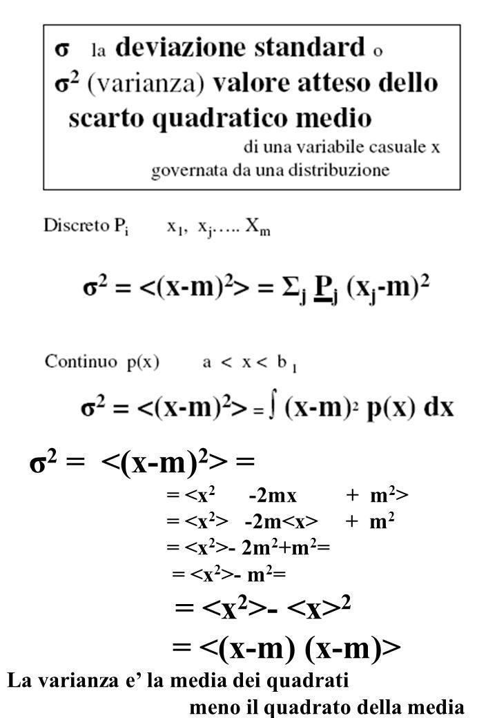 σ 2 = = = = -2m + m 2 = - 2m 2 +m 2 = = - m 2 = = - 2 = La varianza e' la media dei quadrati meno il quadrato della media