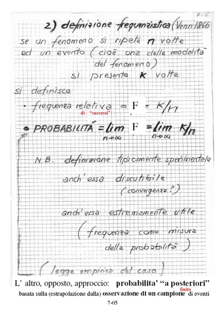 P(A e B)= =P(A,B) =P(A) F(A,B) P(B) P(B/A) P(A/B) F(A,B)>1 ⇒ P(A,B) > P(A) P(B) F(A,B)=1 ⇒ P(A,B) = P(A) P(B) F(A,B)<1 ⇒ P(A,B) < P(A) P(B) si favoriscono sono indipendenti si sfavoriscono