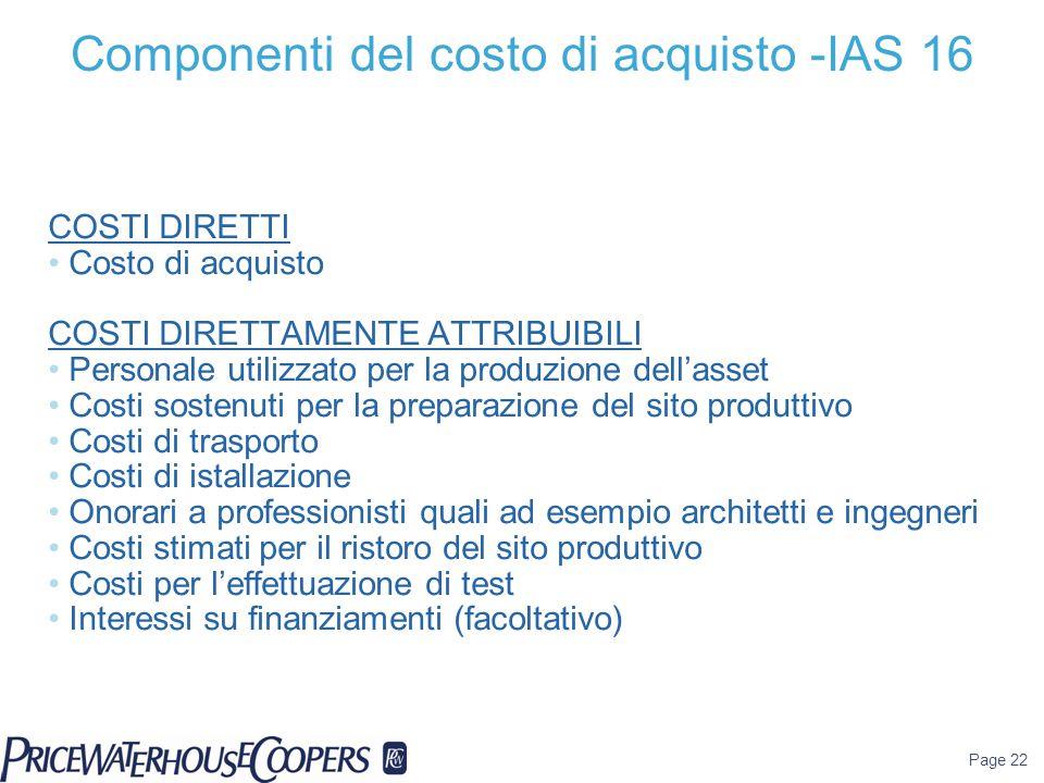 Page 22 COSTI DIRETTI Costo di acquisto COSTI DIRETTAMENTE ATTRIBUIBILI Personale utilizzato per la produzione dell'asset Costi sostenuti per la prepa