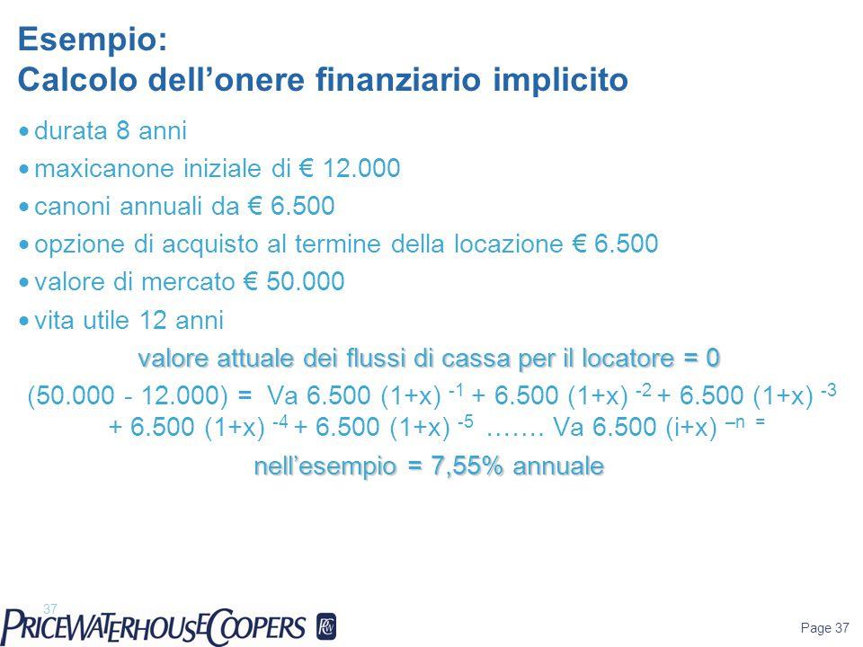 Page 37 Esempio: Calcolo dell'onere finanziario implicito 37  durata 8 anni  maxicanone iniziale di € 12.000  canoni annuali da € 6.500  opzione d
