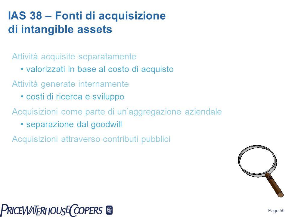 Page 50 Attività acquisite separatamente valorizzati in base al costo di acquisto Attività generate internamente costi di ricerca e sviluppo Acquisizi