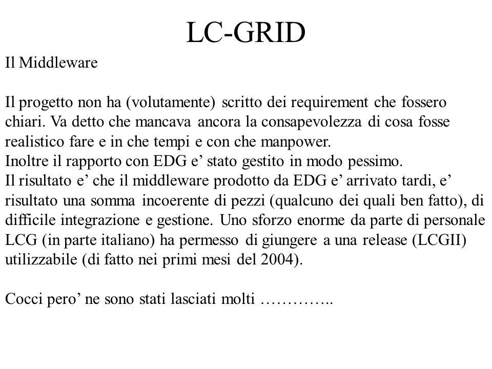 LC-GRID Il Middleware Il progetto non ha (volutamente) scritto dei requirement che fossero chiari.