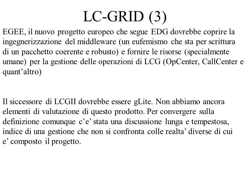 LC-GRID (3) EGEE, il nuovo progetto europeo che segue EDG dovrebbe coprire la ingegnerizzazione del middleware (un eufemismo che sta per scrittura di un pacchetto coerente e robusto) e fornire le risorse (specialmente umane) per la gestione delle operazioni di LCG (OpCenter, CallCenter e quant'altro) Il siccessore di LCGII dovrebbe essere gLite.