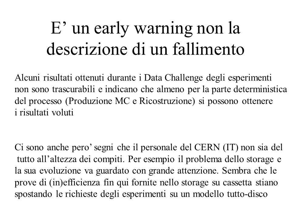E' un early warning non la descrizione di un fallimento Alcuni risultati ottenuti durante i Data Challenge degli esperimenti non sono trascurabili e indicano che almeno per la parte deterministica del processo (Produzione MC e Ricostruzione) si possono ottenere i risultati voluti Ci sono anche pero' segni che il personale del CERN (IT) non sia del tutto all'altezza dei compiti.