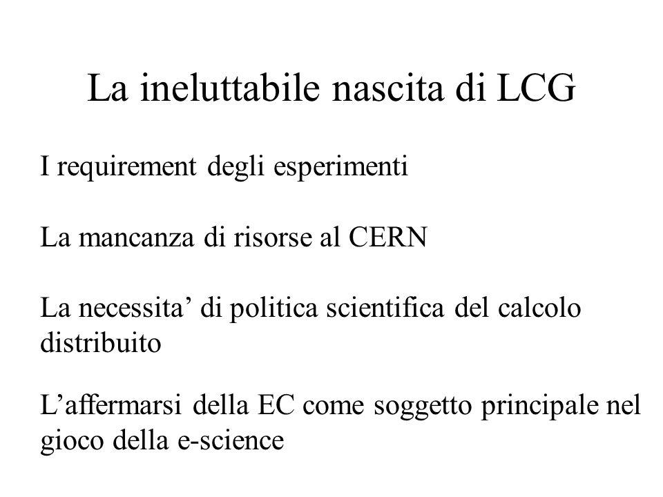 La ineluttabile nascita di LCG I requirement degli esperimenti La mancanza di risorse al CERN La necessita' di politica scientifica del calcolo distribuito L'affermarsi della EC come soggetto principale nel gioco della e-science