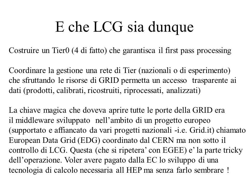 E che LCG sia dunque Costruire un Tier0 (4 di fatto) che garantisca il first pass processing Coordinare la gestione una rete di Tier (nazionali o di esperimento) che sfruttando le risorse di GRID permetta un accesso trasparente ai dati (prodotti, calibrati, ricostruiti, riprocessati, analizzati) La chiave magica che doveva aprire tutte le porte della GRID era il middleware sviluppato nell'ambito di un progetto europeo (supportato e affiancato da vari progetti nazionali -i.e.