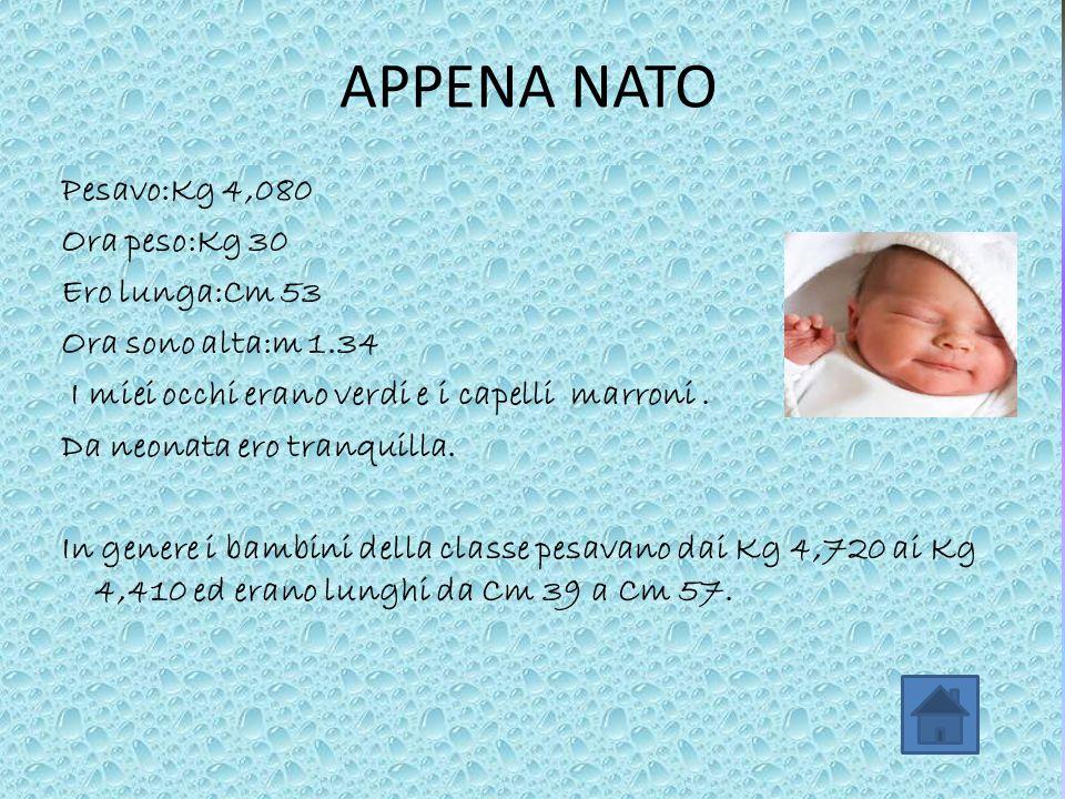 APPENA NATO Pesavo:Kg 4,080 Ora peso:Kg 30 Ero lunga:Cm 53 Ora sono alta:m 1.34 I miei occhi erano verdi e i capelli marroni. Da neonata ero tranquill