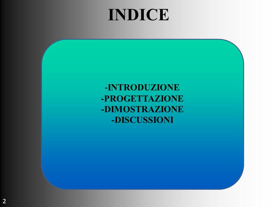 INDICE - INTRODUZIONE -PROGETTAZIONE -DIMOSTRAZIONE -DISCUSSIONI 2