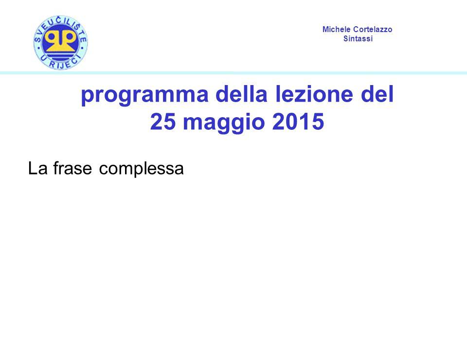 Michele Cortelazzo Sintassi programma della lezione del 25 maggio 2015 La frase complessa
