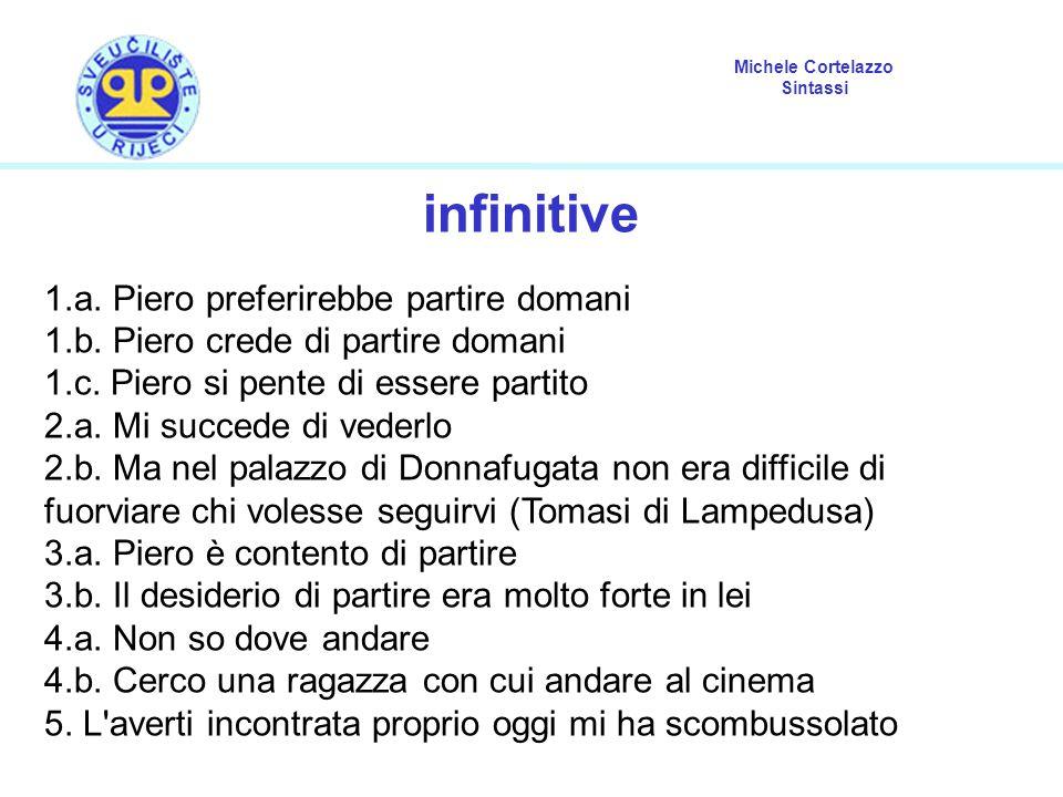 Michele Cortelazzo Sintassi infinitive 1.a.Piero preferirebbe partire domani 1.b.