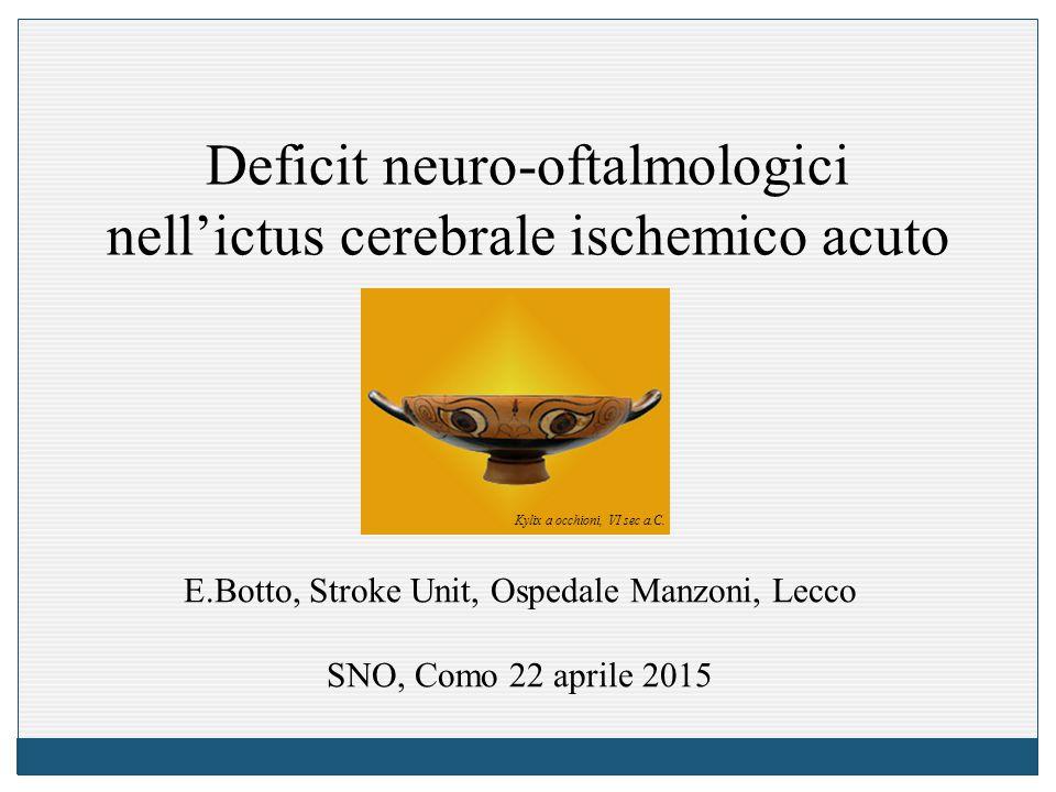 Deficit neuro-oftalmologici nell'ictus cerebrale ischemico acuto E.Botto, Stroke Unit, Ospedale Manzoni, Lecco SNO, Como 22 aprile 2015 Kylix a occhioni, VI sec a.C.