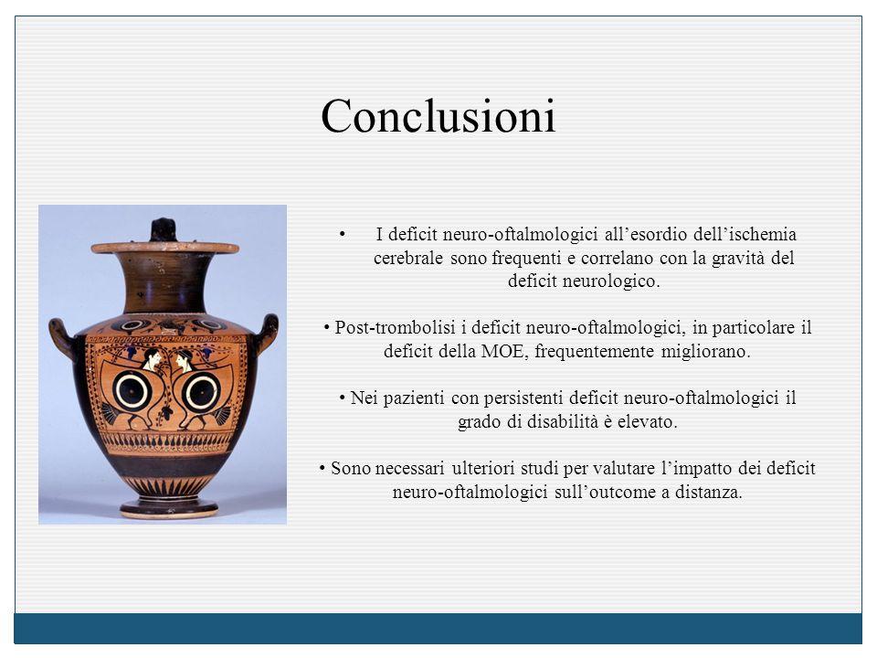 Conclusioni I deficit neuro-oftalmologici all'esordio dell'ischemia cerebrale sono frequenti e correlano con la gravità del deficit neurologico. Post-